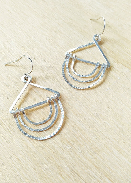 Nellie Earrings. Hand formed sterling silver drop earrings
