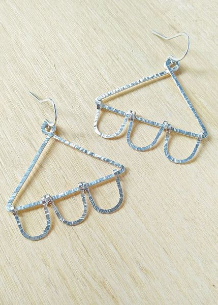 Nora Earrings. Hand formed sterling silver drop earrings