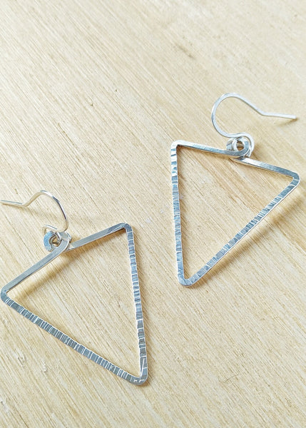 Eliza Earrings. Hand formed Sterling Silver drop earrings