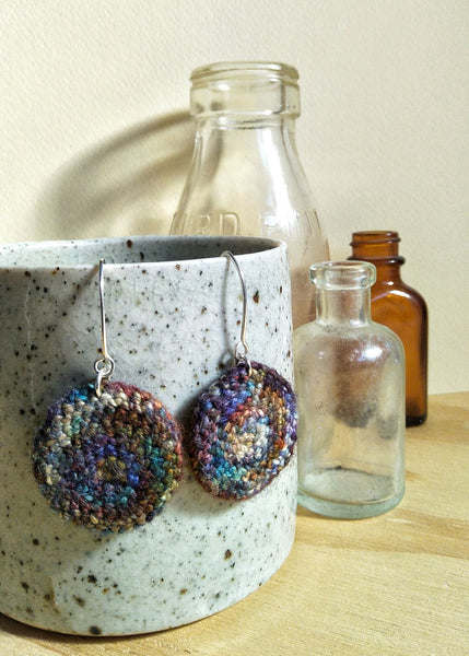 Lula Earrings #3 Crocheted wool round drop earrings