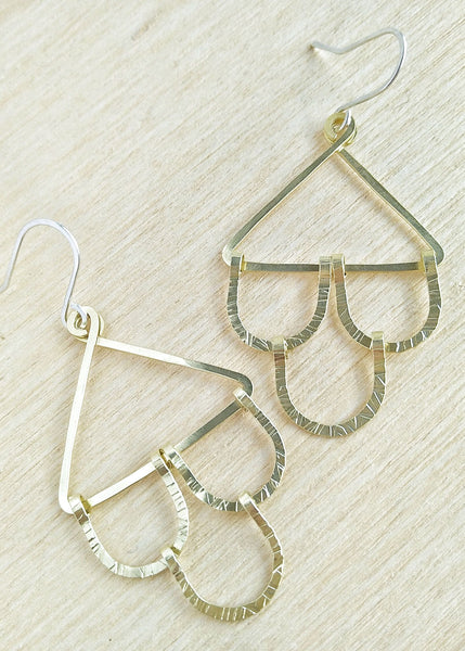 Tully Earrings. Hand formed drop earrings in brass.