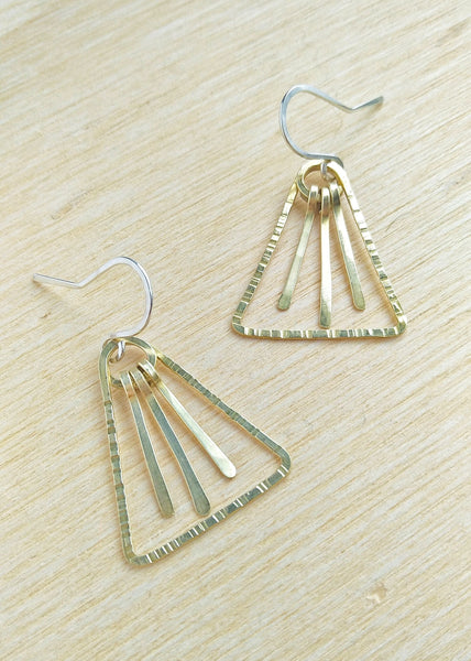 Chloe Earrings. Hand formed brass drop earrings