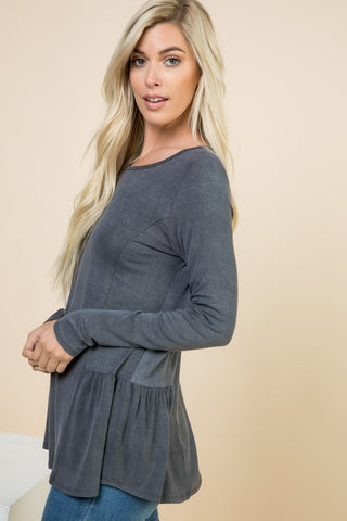 LINA LONGSLEEVE ROUND NECK SIDE DETAIL TUNIC-Tops-MODE-Couture-Boutique-Womens-Clothing