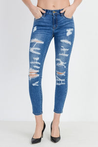 JUST USA HIGH RISE ULTRA DISTRESSED SKINNY IN MEDIUM WASH-Jeans-MODE-Couture-Boutique-Womens-Clothing
