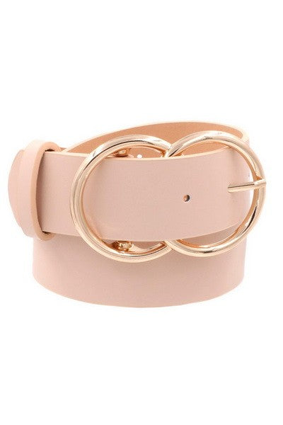 MIXED EMOTIONS FAUX LEATHER DOUBLE METAL RING BUCKLE BELT IN BLUSH-BELTS-MODE-Couture-Boutique-Womens-Clothing