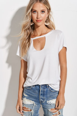 JOSIE SHORT SLEEVE CUTOUT TOP IN WHITE-Tops-MODE-Couture-Boutique-Womens-Clothing