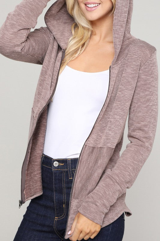 AGAINST ALL ODDS JACKET WITH HOOD IN TAUPE-Jackets-MODE-Couture-Boutique-Womens-Clothing