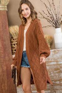 HARVEST HAPPY BUBBLE SLEEVE SIDE SLIT KNIT CARDIGAN CARDIGAN IN CHESTNUT-Cardigans-MODE-Couture-Boutique-Womens-Clothing