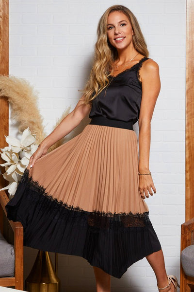 ALWAYS AN ADVENTURE LACE HEM MIDI SKIRT IN TAUPE-SKIRTS-MODE-Couture-Boutique-Womens-Clothing