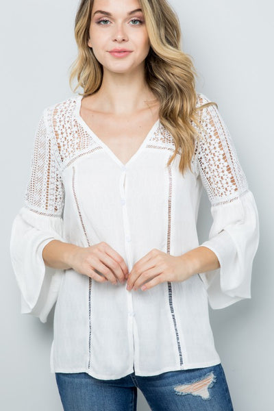 MAIZEY BOHO CROCHET V-NECK TOP IN WHITE-Tops-MODE-Couture-Boutique-Womens-Clothing