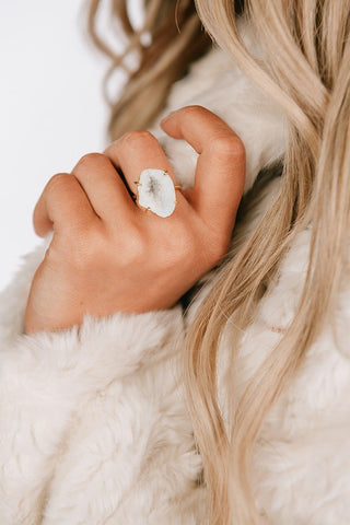 DREAM ON STONE RING IN WHITE-RINGS-MODE-Couture-Boutique-Womens-Clothing