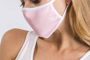 LIGHT PINK WITH WHITE TRIM ANTIMICROBIAL KIDS FACE MASK-FACE MASKS-MODE-Couture-Boutique-Womens-Clothing