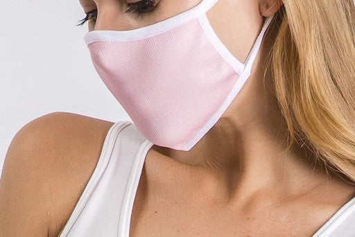 LIGHT PINK WITH WHITE TRIM ADULT FACE MASK-FACE MASKS-MODE-Couture-Boutique-Womens-Clothing