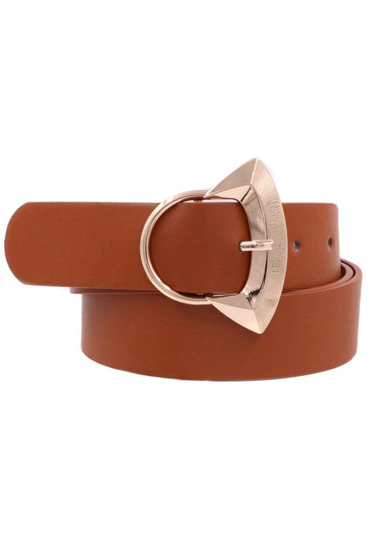 FOREVER A FAVE FAUX LEATHER SHELL BUCKLE BELT IN BROWN-BELTS-MODE-Couture-Boutique-Womens-Clothing