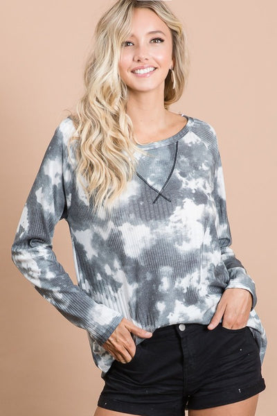 MY KIND OF NIGHT VARIAGATED RIB TIE DYE TOP WITH STITCHING IN CHARCOAL-Tops-MODE-Couture-Boutique-Womens-Clothing