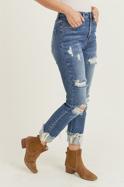 RISEN DISTRESSED HIGH RISE TURN BACK CUFF STRAIGHT LEG JEAN IN DARK DENIM-Jeans-MODE-Couture-Boutique-Womens-Clothing