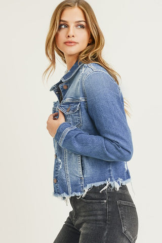 SAVVI VINTAGE DISTRESSED JEAN JACKET IN MEDIUM DENIM-Jackets-MODE-Couture-Boutique-Womens-Clothing