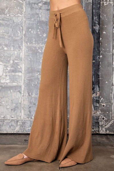 I'LL JUST BE OVER HERE RIBBED HIGH WAISTED LOUNGE PANTS IN CAMEL-Lounge Set-MODE-Couture-Boutique-Womens-Clothing
