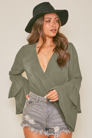 FEELING FLIRTY LONG SLEEVE V NECK SURPLICE BODYSUIT IN OLIVE-Tops-MODE-Couture-Boutique-Womens-Clothing