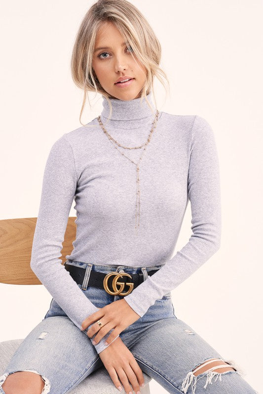 BILLIE LONG SLEEVE BASIC TURTLE NECK IN HEATHER GRAY-Tops-MODE-Couture-Boutique-Womens-Clothing