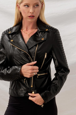 I THINK I'LL GO TO BOSTON FAUX LEATHER BIKER JACKET-Jackets-MODE-Couture-Boutique-Womens-Clothing