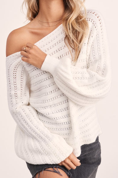 CABIN COZY PINOT KNIT LANTERN SLEEVE CROPPED SWEATER IN IVORY-Sweaters-MODE-Couture-Boutique-Womens-Clothing