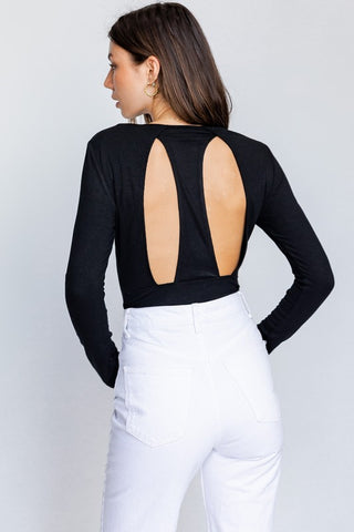 WEST COAST BEAUTY LONG SLEEVE BACK CUT OUT BODYSUIT IN BLACK-bodysuits-MODE-Couture-Boutique-Womens-Clothing