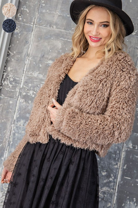 BEST DAYS OF MY LIFE FUZZY OPEN FRONT COAT IN COCOA-Jackets-MODE-Couture-Boutique-Womens-Clothing