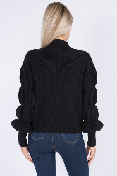 TOP OF THE WORLD PUFF SLEEVE PULLOVER SWEATER IN BLACK-Sweaters-MODE-Couture-Boutique-Womens-Clothing
