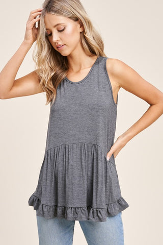 CARA RUFFLE HEM BABY DOLL TOP IN GRAY-TOPS-MODE-Couture-Boutique-Womens-Clothing