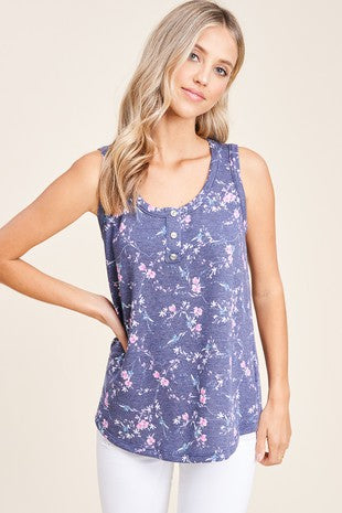 SYDNEY HALF BUTTON FLORAL TANK TOP IN NAVY-TOPS-MODE-Couture-Boutique-Womens-Clothing