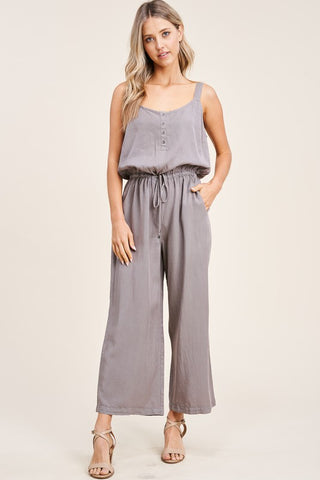 FROM SUNRISE TO SUNDOWN WIDE STRAP HALF BUTTON JUMPSUIT IN MOCHA-JUMPSUIT-MODE-Couture-Boutique-Womens-Clothing