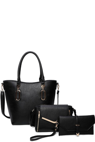 ENCHANTED EVENING 3-IN-1 TOTE BAG IN BLACK-PURSES-MODE-Couture-Boutique-Womens-Clothing