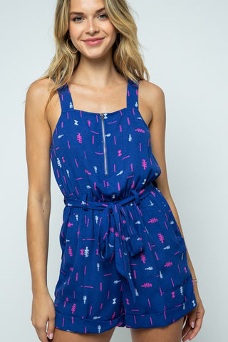 LA JOLLA LOVIN' SLEEVELESS PRINTED ROMPER WITH ZIPPER DETAIL IN NAVY COMBO-MODE-Couture-Boutique-Womens-Clothing
