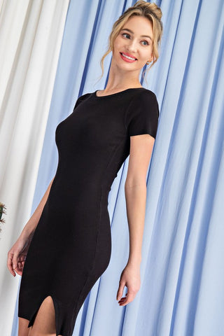 FRIDAY VIBES RIBBED BODYCON T-SHIRT MINI DRESS IN BLACK-Dresses-MODE-Couture-Boutique-Womens-Clothing