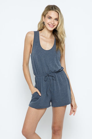 BE COOL SLEEVELESS ROMPER WITH POCKET DETAIL IN CHARCOAL-ROMPER-MODE-Couture-Boutique-Womens-Clothing