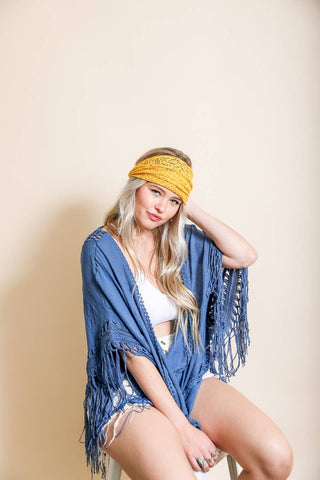 BOHEMIAN LACE STRETCH HEADWRAP IN YELLOW-Head Band-MODE-Couture-Boutique-Womens-Clothing