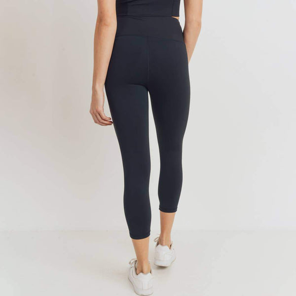 LIFT OR LOUNGE HIGHWAIST CAPRI LEGGINGS WITH RIBBED BAND IN BLACK-Athleisure Leggings-MODE-Couture-Boutique-Womens-Clothing