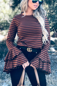 LEXI STRIPE DOUBLE BELL CASUAL TOP IN BROWN COMBO-Tops-MODE-Couture-Boutique-Womens-Clothing