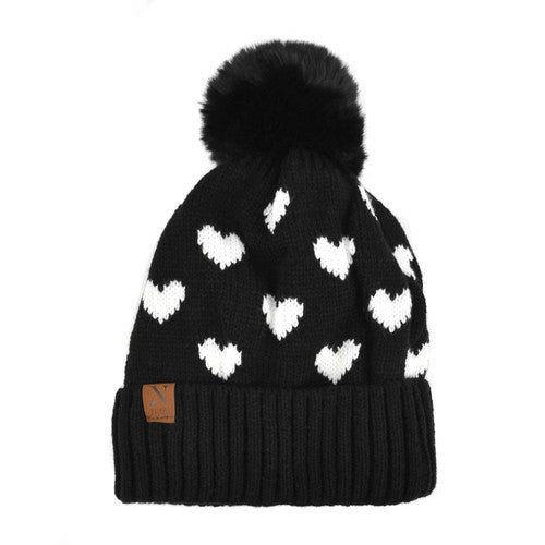 HEART HAT WITH POM POM DETAIL-Hats-MODE-Couture-Boutique-Womens-Clothing