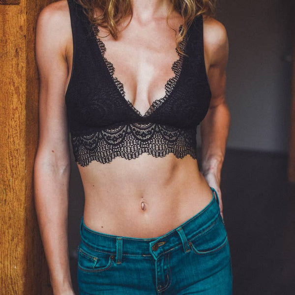 ALISSA PLUNGE ALECON LACE BRALETTE IN BLACK-Bralette-MODE-Couture-Boutique-Womens-Clothing
