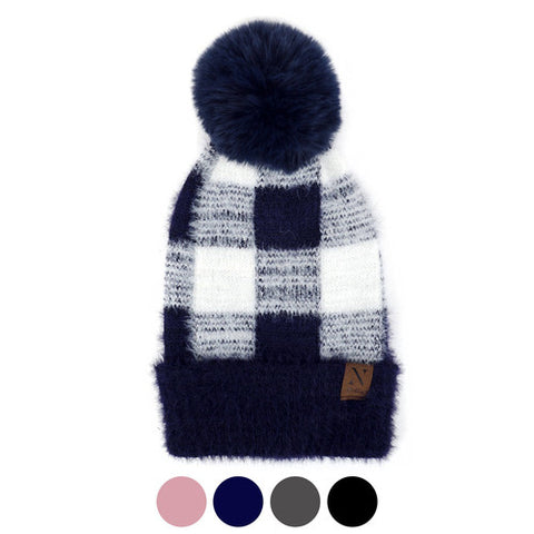 HOT TODDIES & YOU CHECKERED KNIT POM POM HAT-Hats-MODE-Couture-Boutique-Womens-Clothing
