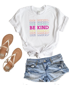 BE KIND COLORFUL GRAPHIC TEE IN WHITE-GRAPHIC TEE-MODE-Couture-Boutique-Womens-Clothing