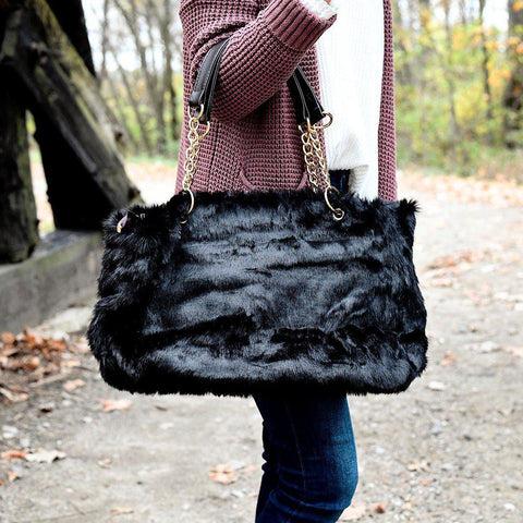 SELINA FAUX FUR BAG IN BLACK-BAGS-MODE-Couture-Boutique-Womens-Clothing