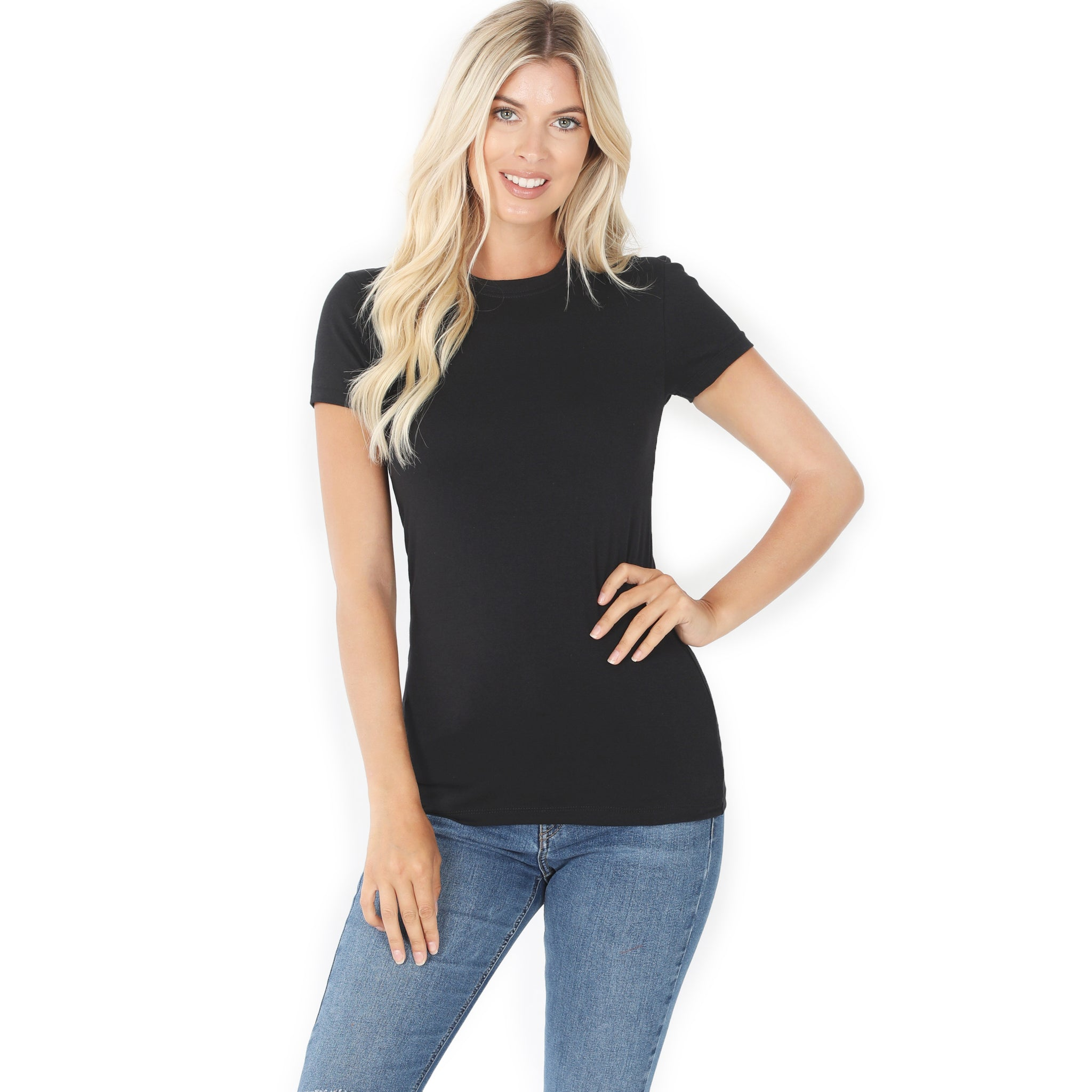 KEEP IT BASIC CREW NECK SHORT SLEEVE TEE IN BLACK-BASICS-MODE-Couture-Boutique-Womens-Clothing