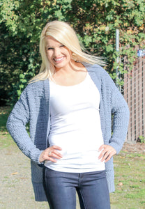 THE EVERYDAY OPEN POPCORN CARDIGAN IN CEMENT-Cardigans-MODE-Couture-Boutique-Womens-Clothing