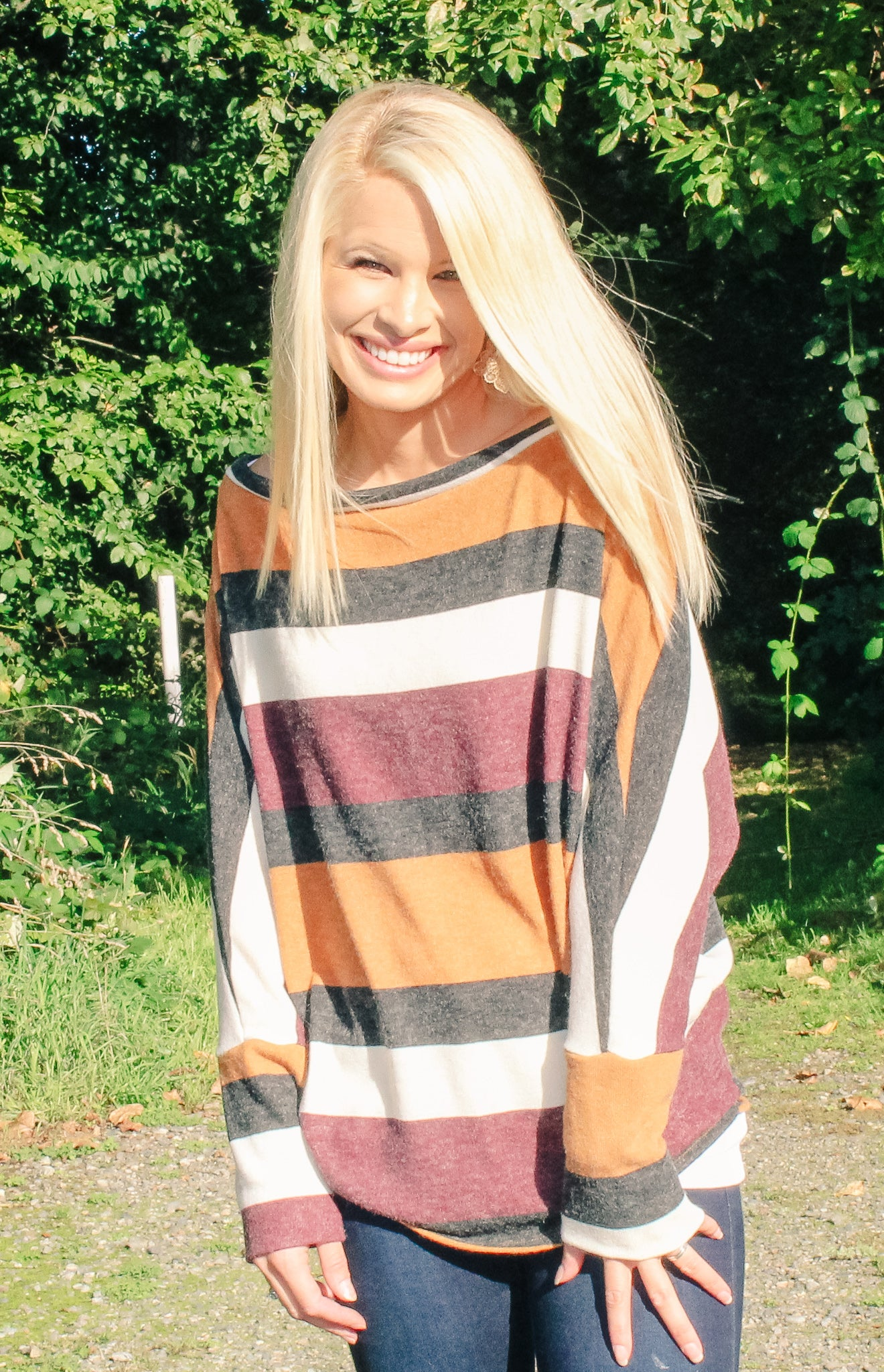 RACHEL STRIPED DOLMAN TOP IN CAMEL COMBO-Tops-MODE-Couture-Boutique-Womens-Clothing
