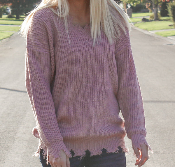 ON THE EDGE FRAYED TRIM SWEATER IN MAUVE-Sweaters-MODE-Couture-Boutique-Womens-Clothing