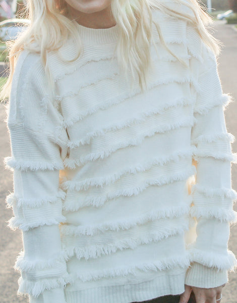 AUTUMN DAYDREAM FRINGE SWEATER IN IVORY-Sweaters-MODE-Couture-Boutique-Womens-Clothing