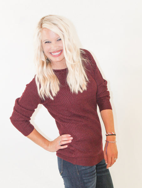 DARBY CASUAL WAFFLE KNIT SWEATER IN BURGUNDY-Sweaters-MODE-Couture-Boutique-Womens-Clothing